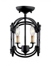 World Imports WI6140942 - Hastings Collection 2-Light Rust Semi-Flush Mount Lantern